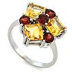 Серебряное кольцо с самоцветами: гранатами и цитринами SL-02250-395 весом 3.95 г  стоимостью 2800 р.