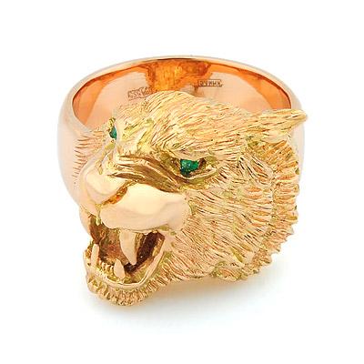 db692a12c771 Мужской перстень с головой тигра из золота — на заказ - ювелирные ...