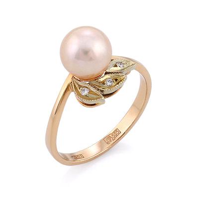 db975828872b Золотое кольцо с розовым жемчугом и бриллиантами - ювелирные ...