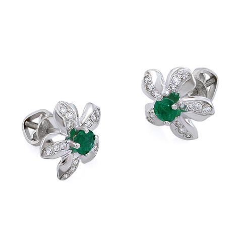 58d01092a40a Серьги с изумрудом и бриллиантами «Цветок» - ювелирные украшения ...