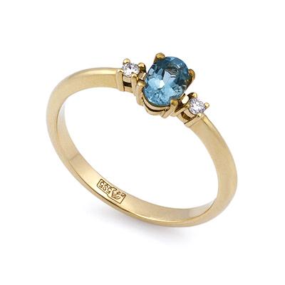 Кольцо с аквамарином и бриллиантами из желтого золота 2.3 г SL-0213-1AQ