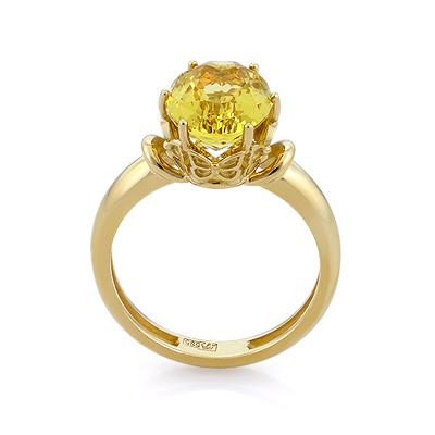 e735bf0a37b4 Золотое кольцо с гелиодором - ювелирные украшения магазина Oromio в ...