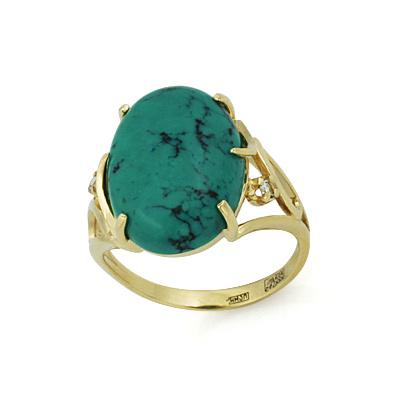 75c21cd86085 Золотое кольцо с бирюзой - ювелирные украшения магазина Oromio в ...