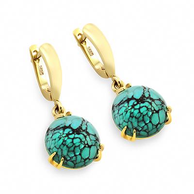 23729a3ed363 Серьги с бирюзой в золоте - ювелирные украшения магазина Oromio в ...
