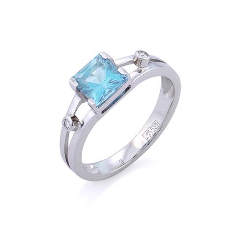 Перстень с аквамарином| Мужское кольцо с аквамарином 3.2 г SL-6395-320