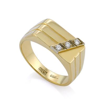 3bba1ae3ab07 Золотой мужской перстень с бриллиантами   Печатка с бриллиантами в золоте  7.21 г SLV-K139